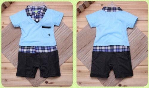 Baby Boy Short Sleeve Plaid Shirt /& Vest detail One piece Romper Size 0.1.2