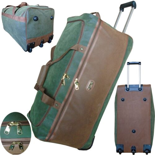 Faux Suede Wheeled Travel Holdall Duffle Trolley Luggage Bag Size S//M//L//XL