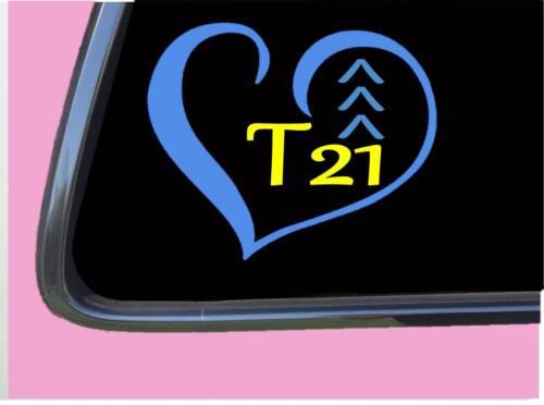 "T21 Groß Herz Aufkleber TP162 6 /"" Hoch Vinyl Unten Syndrom Chromosom Aufkleber"