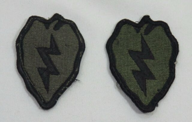Army Military Patch set 25th Infantry Division Set of 2 Green & Black