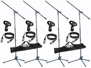 4-x-Mikrofonstativ-mit-je-6m-Mikrokabel-Mikrofonklammer-2-x-Transporttasche