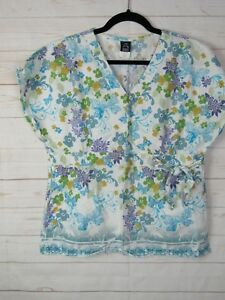 Barco-Womens-White-Pullover-Floral-Scrub-Top-Size-L-W630