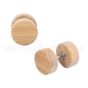 00G Fake Light Wood Ear Plugs, 16G Surgical Steel Plugs, Organic Cheater Plugs