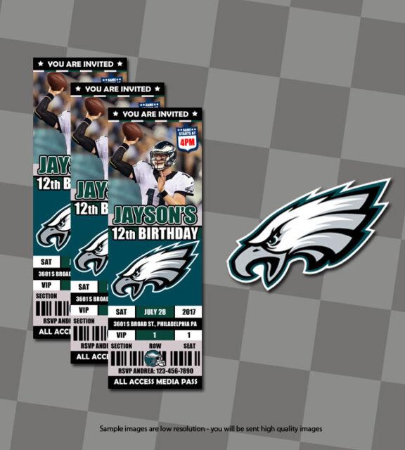 Nfl Philadelphia Eagles Custom Sports Ticket Birthday Invitations 10