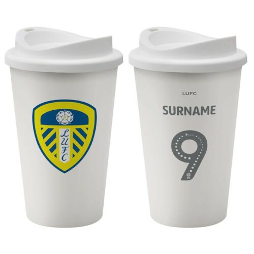 BACK OF SHIRT Personalised Reusable Coffee Cup Leeds United F.C
