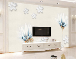 3D White Flowers Pattern 82 Wallpaper Mural Paper Wall Print Wallpaper Murals UK