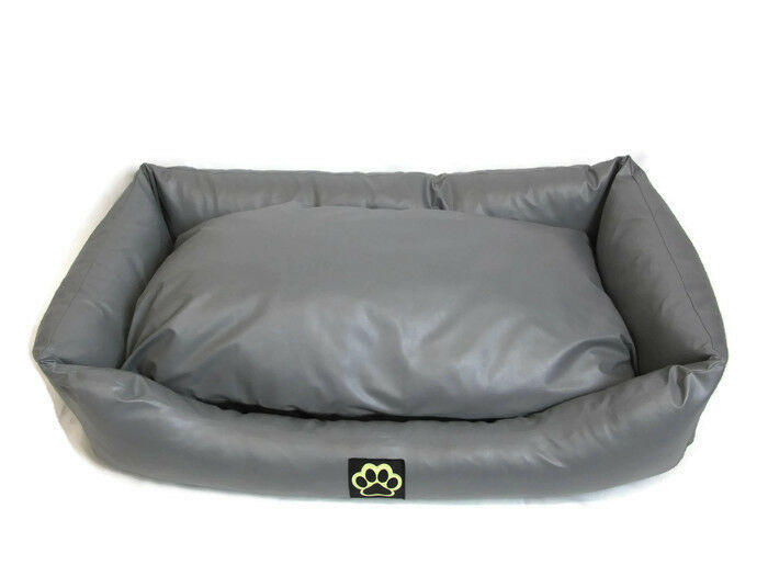 XL Extra Large Dog Bed Sofa In Grey Faux Leather