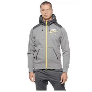 81c7627cb7b7a Das Bild wird geladen Nwt-Herren-Nike-AW77-Fleece-Full-Zip-Kapuzenpulli-