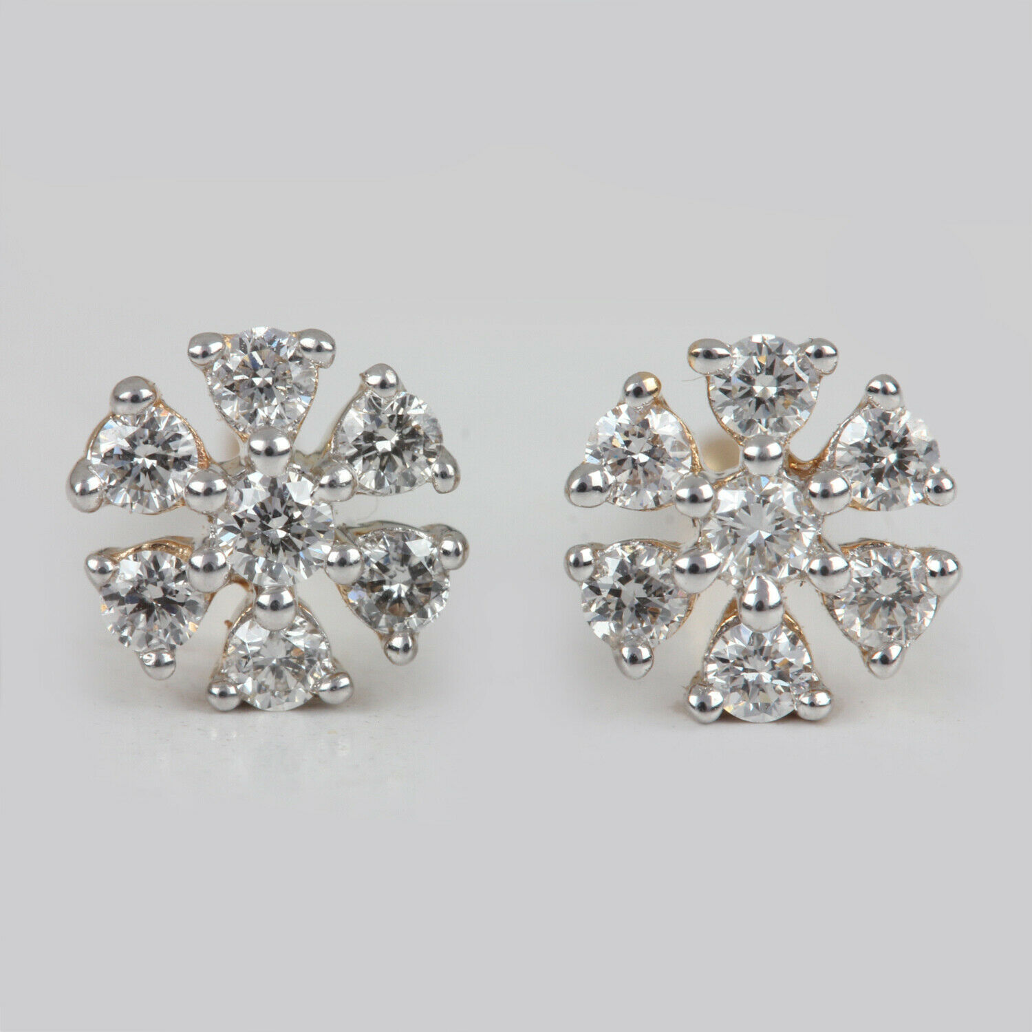 Diamond Stud Earrings Solid 14k Yellow gold Vintage Style Jewelry NEW COLLECTION