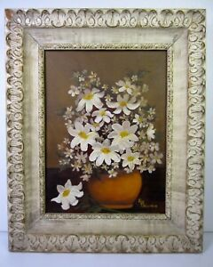 1974-Original-Artist-Signed-Still-Life-Oil-Painting-12-x9-with-Frame16x13-In