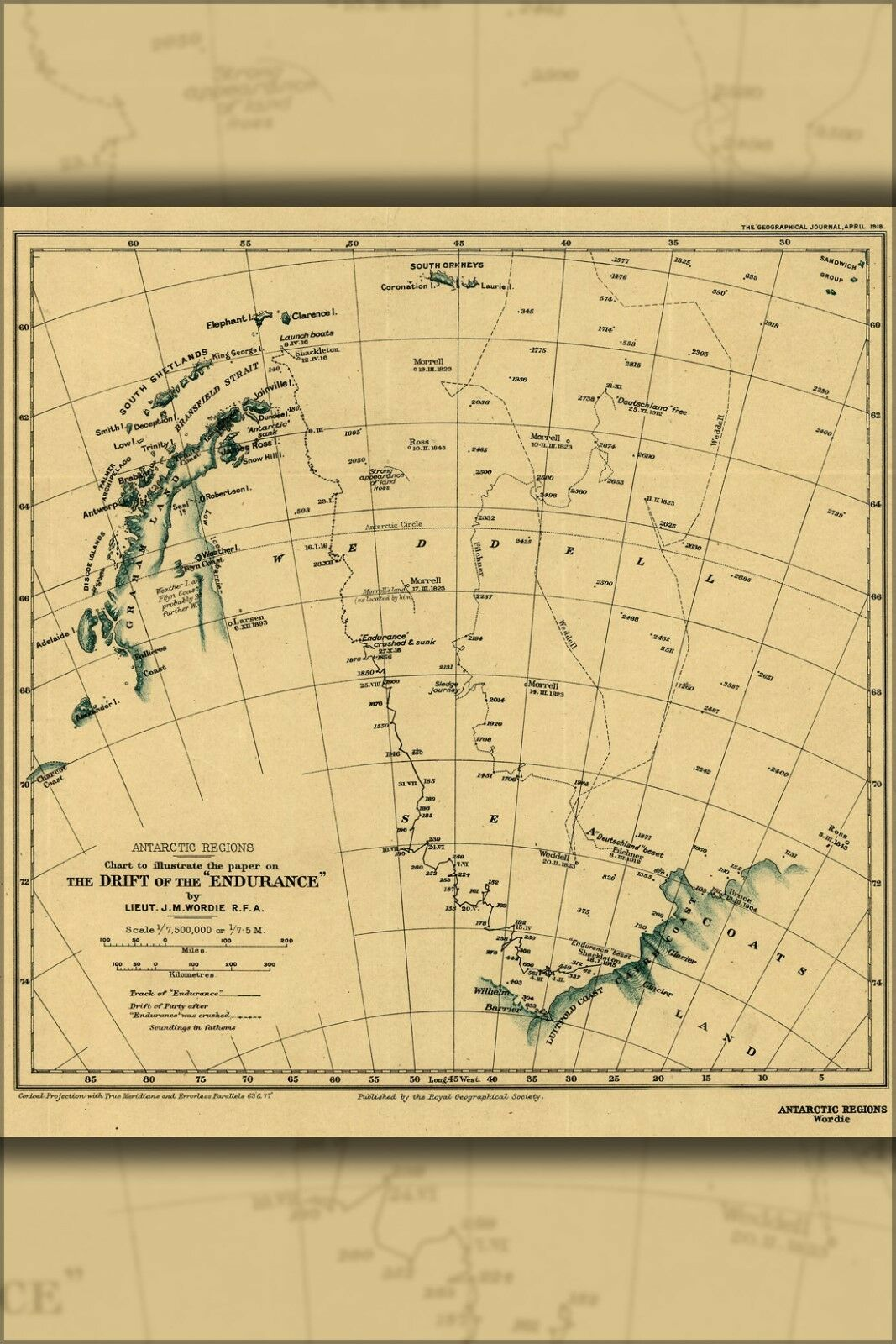 Plakat, Viele Größen; Karte Ernest Shackletons Leistung 1918 Antarktik