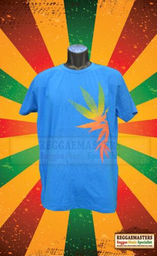 RED GOLD GREEN WEED//GANJA LEAF BLUE T SHIRT PLAIN BACK REGGAE ROOTS RASTAFARI