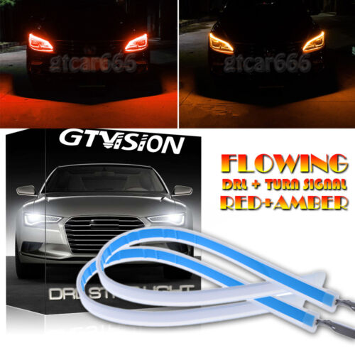2x 30cm LED New Slim Headlight Strip Light DRL Sequential Flow Signal Red Yellow