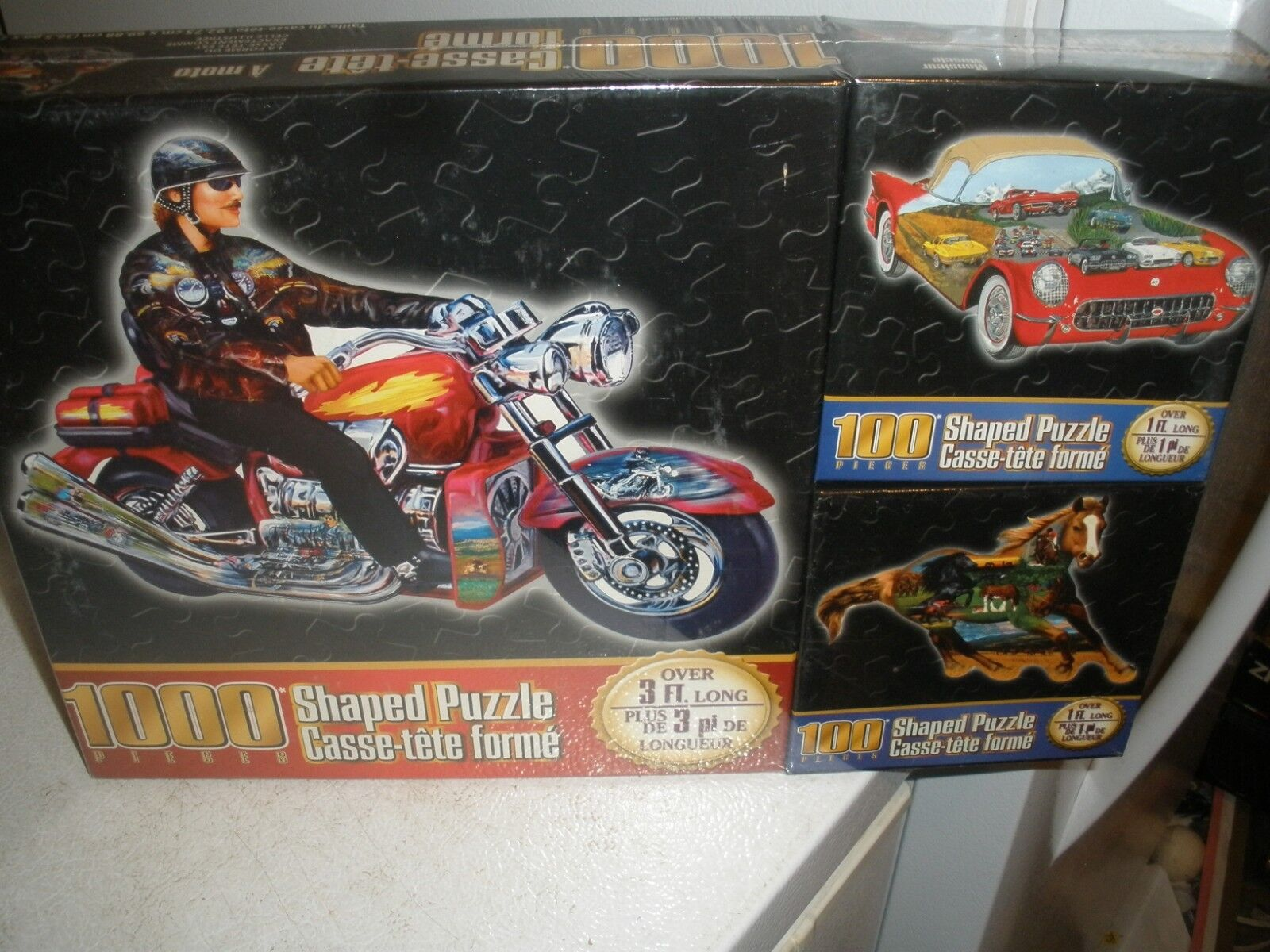 NEW Set of 3 Sure-Lox Shaped Puzzles 1000 Motorcycle, 100 Car, 100 Horse