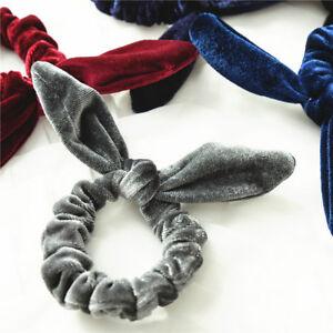 Velvet-Stretch-Bow-knot-Bunny-Ears-Scrunchies-Hair-Tie-Hair-Ring-Ponytail-Holder
