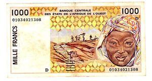 MALI-WEST-AFICAN-STATES-AFRIQUE-de-l-039-OUEST-Billet-1000-Francs-2001-P411D