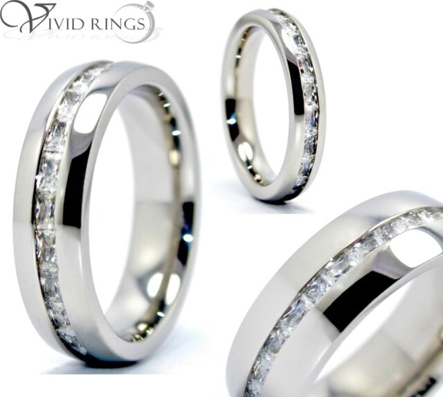 Mens & Womens Stainless Steel Princess Cut Eternity Ring CZ Size 4 to 13.5