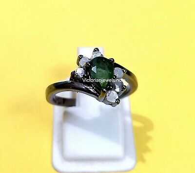 Emerald Ring Natural Emerald Ring Solid 925 Sterling Silver Handmade Victorian Jewelry Ring Jewelry PoonamArtJewels