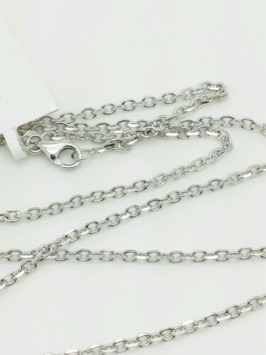 """14k Solid White Gold High Polish Cable Link Pendant Necklace Chain 20/"""" 1.8mm"""