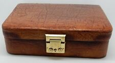 Antique / Vintage English Leather Clad Jewelry Box England