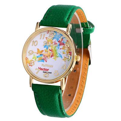 Fashion Women Watch Butterfly Print Leather Analog Quartz Bracelet Wrist Watches