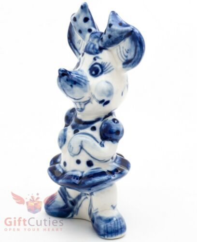 Gzhel Mice mouse Rat Girl with bow knot porcelain figurine souvenir handmade