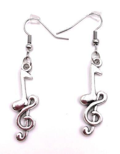 Note mit Notenschlüssel und Herz Ohrringe Ohrschmuck Anhänger Silber Metall