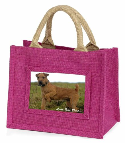 Lakeland Terrier 'Love You Dad' Little Girls Small Pink Shopping Bag , DAD73BMP