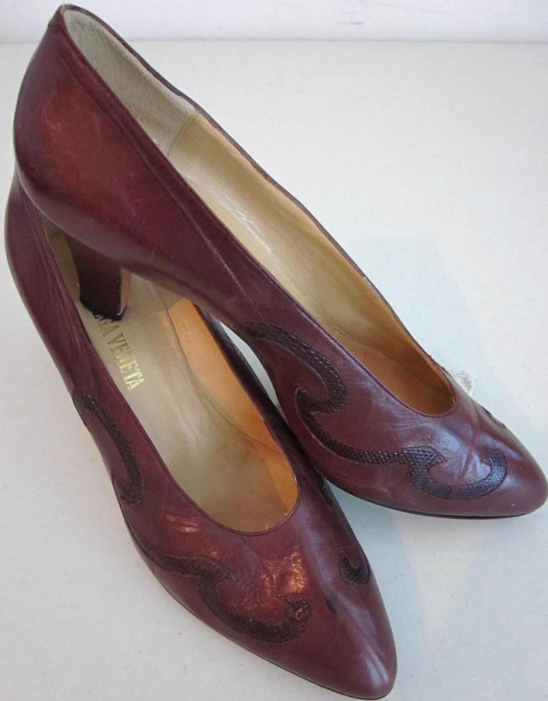 Bottega Veneta Heels Sz 10 marron Sculpturouge Leather & Lizard Dustbag Rt  1150