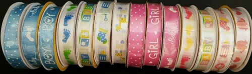 """Baby Shower Satin Gift Wrapping Ribbons 5//8""""x144"""" Theme Select"""