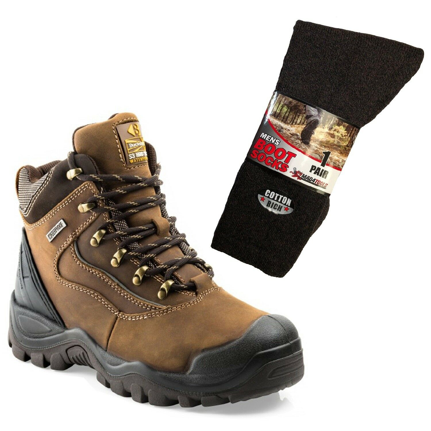 Buckler BSH002BR Waterproof Anti-Scuff Safety Boots Brown & 1 Pair of Socks