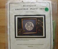 Vintage Needlepoint Christmas Plate 1979 home For Christmas Kaaran Randall