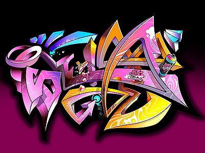 STREET ART  satin photo  canvas graffiti urban painting 70cm x 50cm