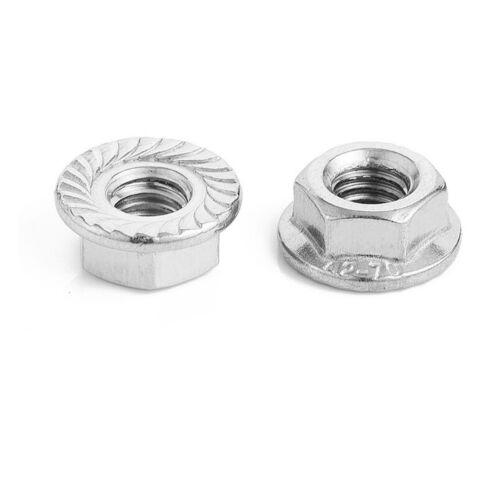 Hex Serrated Flange Lock Nut M3//M4//M5//M6//M8//M12 Stainless Steel 304 US STOCK