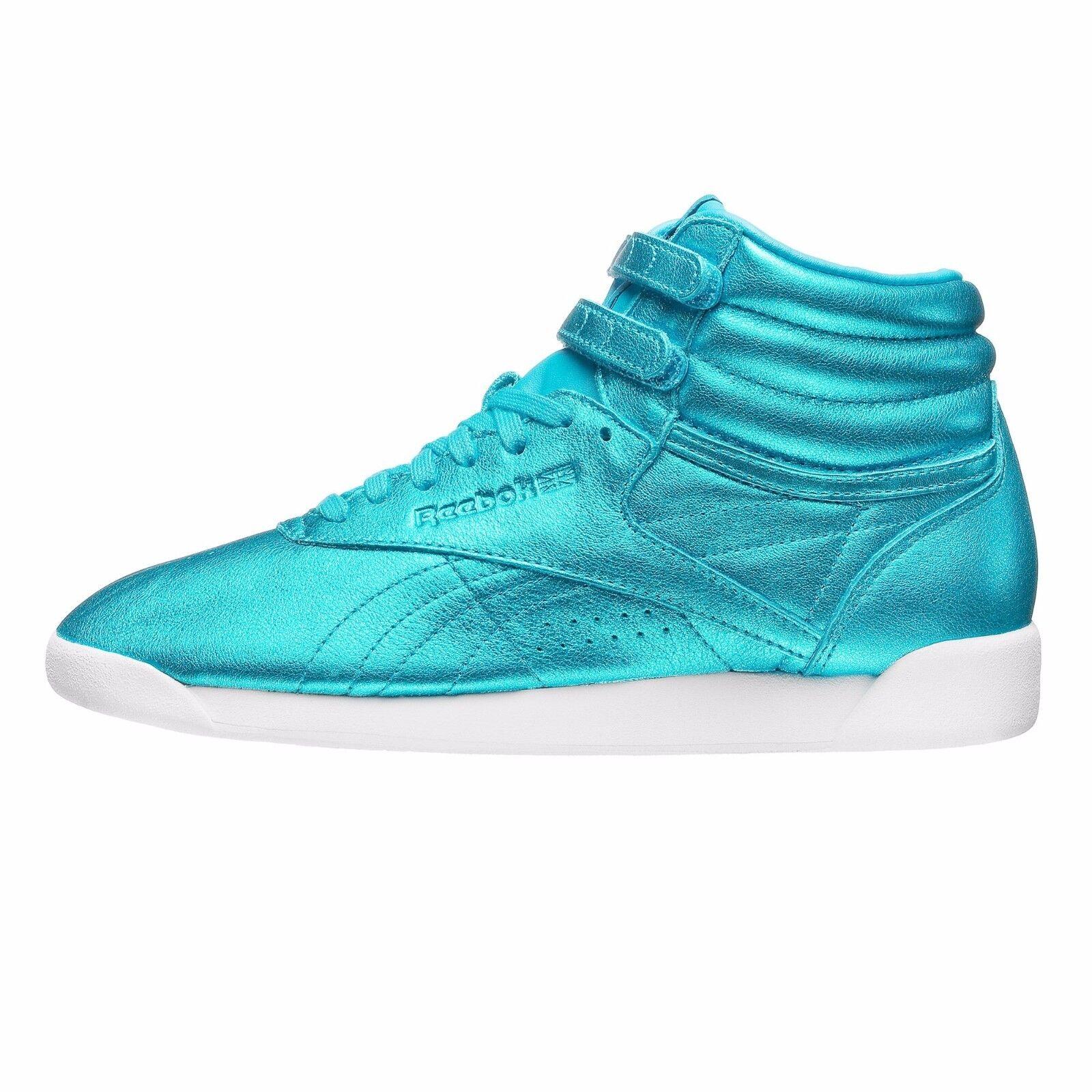 Reebok Women's FREESTYLE HI METALLIC Shoes Feather Blue CN0959 b