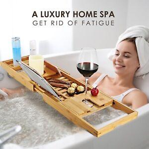 Bathtub Caddy Bamboo Bath Tub Rack Tray Bathroom Cloth Book Pad Tablet Holder 616043300559 Ebay