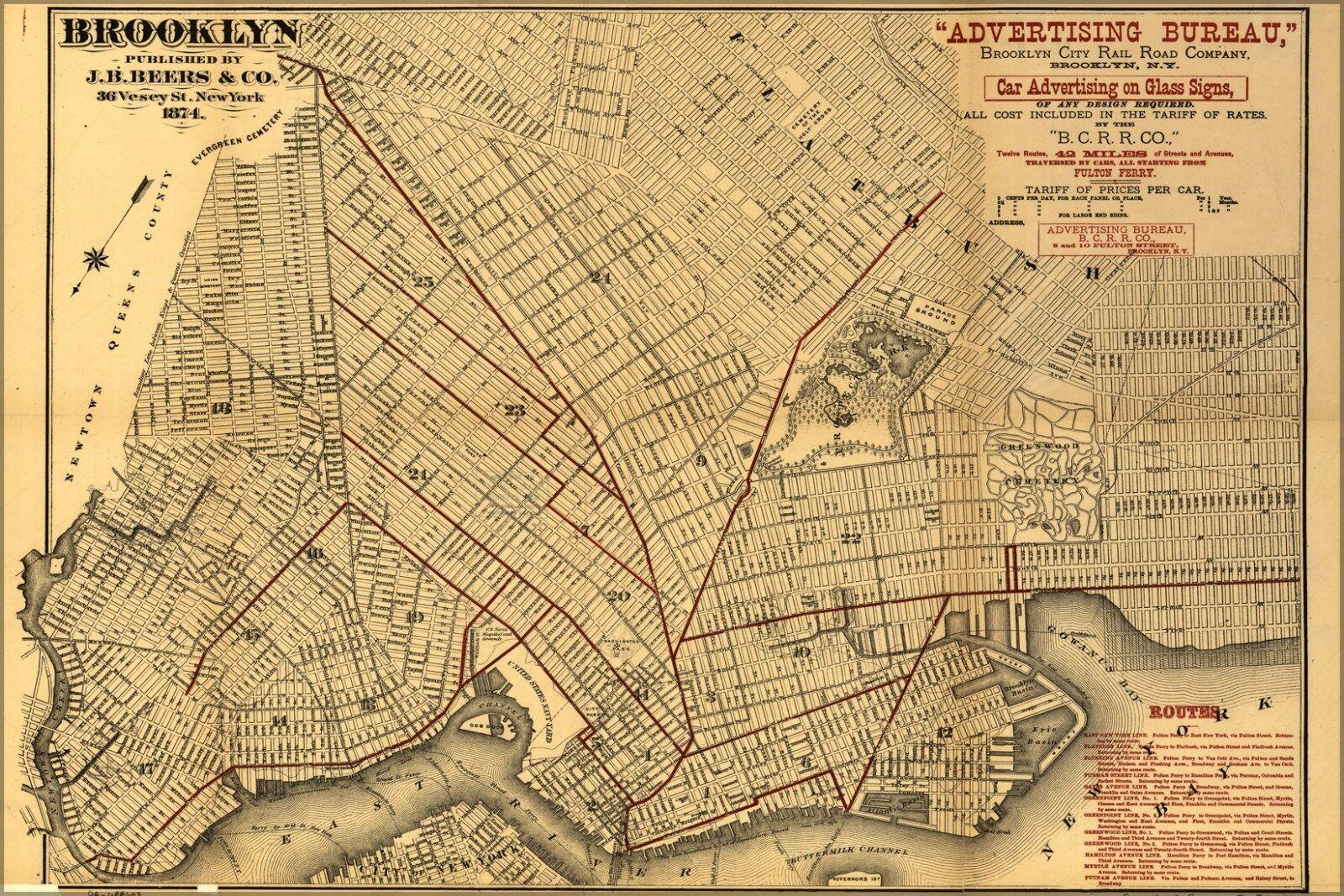 Poster, Molte Molte Molte Misure; Mappa Del Brooklyn 1874 940a83
