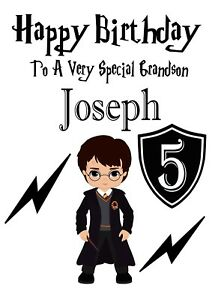 Image Is Loading HARRY POTTER Birthday Card Son Grandson Any All