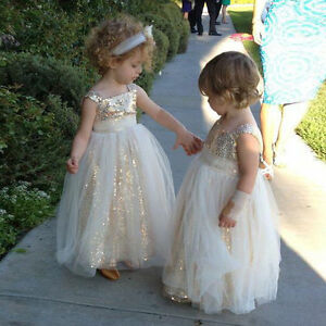 3b2ff022 Gold Sequined Flower Girl Dress Tulle Pageant Party Formal Wedding ...