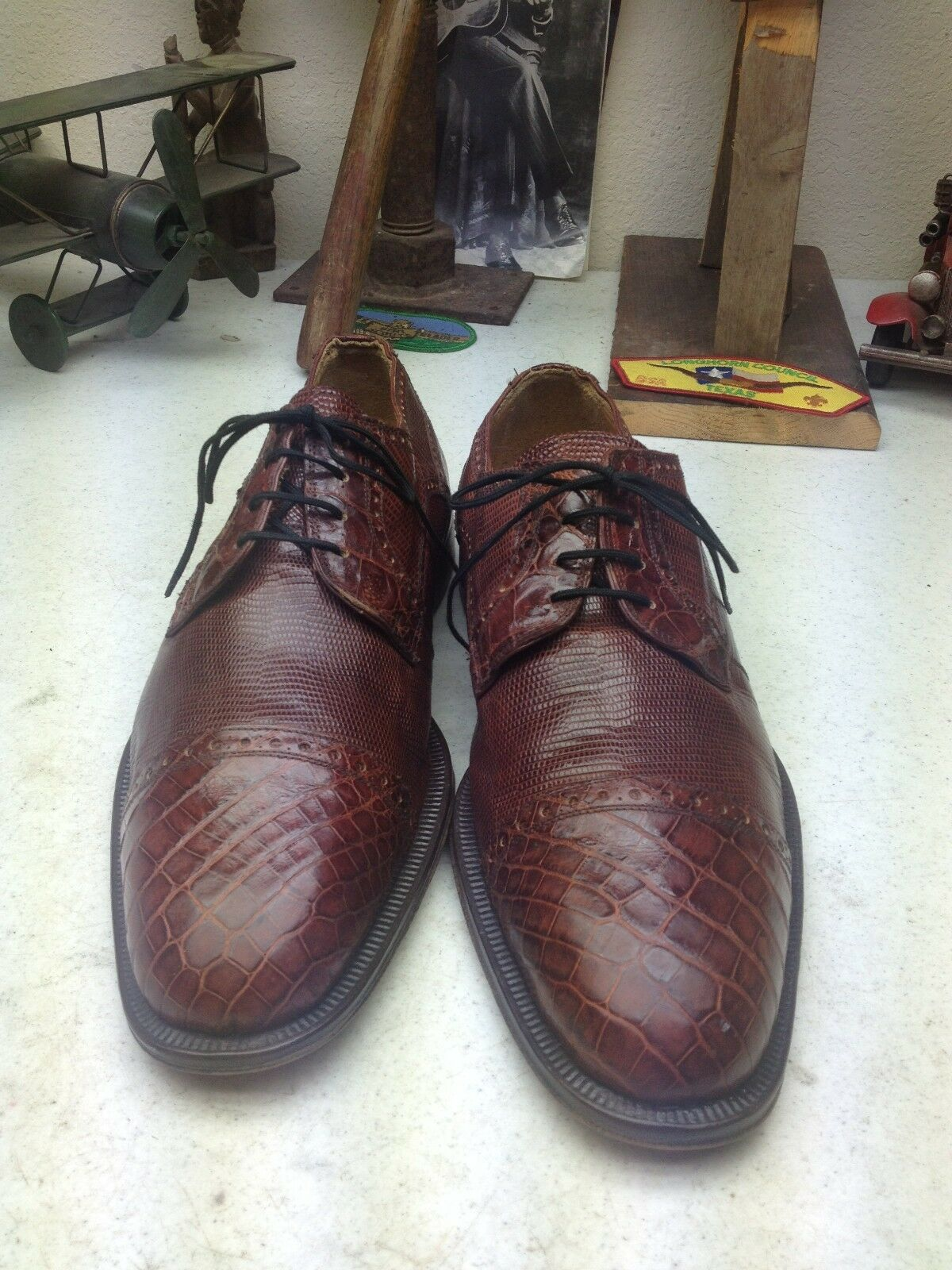 DAVID EDEN LIZARD CROCODILE BURGUNDY LEATHER LACE UP BUSINESS OXFORD SHOES 9.5 D Scarpe classiche da uomo