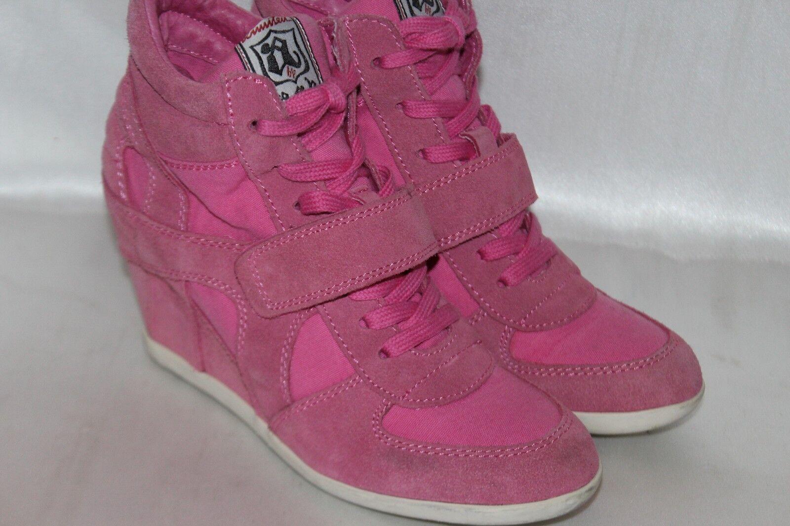 ASH Limited Pink Suede Leather BOWIE High Hi Top Hidden Wedge Sneaker Sz 8 EU39