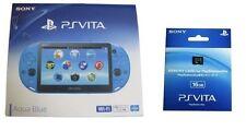 SONY 2015 PS Vita Wi-Fi Console PCH-2000 ZA23 Aqua Blue 16 GB Memory Card set