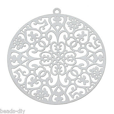 BD 10PCs Stainless Steel Thin Hollow Round Pattern Pendants 4.3x4cm