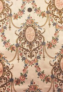Antique-French-Rose-Cameo-HF-Textile-Yardage-c-1880-1yd1-034-L-X-25-034-W-Home-Decor