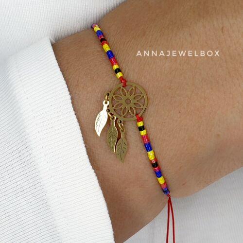 Dreamcatcher pulsera con dijes de oro con cuentas amistad atrapasueños Joyas Regalo