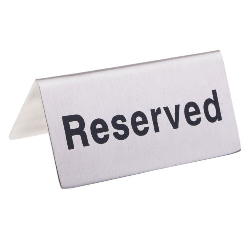 """Stainless Steel Tent Style /""""No-Smoking //Reserved/"""" Table Signs for Restaurant"""