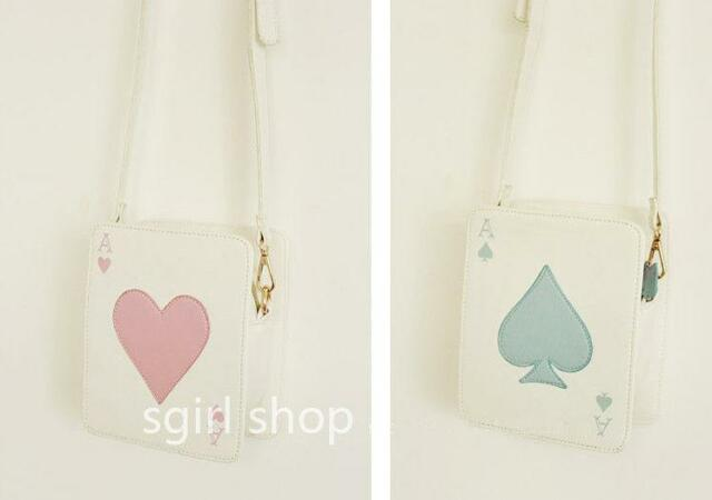 Poker Card Bag Blue Pink Pastel Alice Wonderland Heart Lolita Harajuku Amo