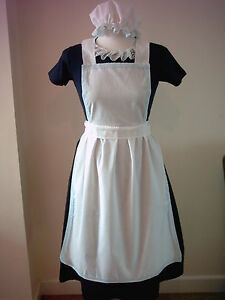GIRLS-11-12-APRON-amp-MOP-CAP-ONLY-blue-lace-fancy-dress-costume-victorian-tudor