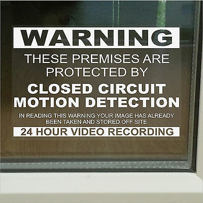 CCTV Motion Detection Warning Security Window Stickers-Closed Circuit TV Signs