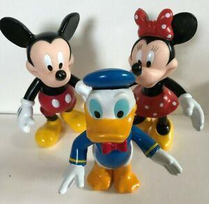 MICKEY-MINNIE-amp-DONALD-DUCK-MOUSE-DISNEY-FIGURE-PLASTICA-DURA-vecchi-giocattoli